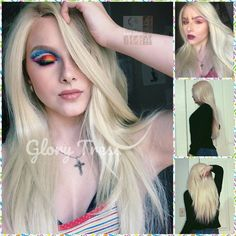 ON SALE // Custom Long & Straight Lace Front Wig, 100% Human Blend Wig, Platinum Blonde Wig, Free Parting, Soft Swiss Lace// NAOMI Flat Iron Curls, Straight Lace Front Wigs, Blonde Wig, Wig Cap, Platinum Blonde, 100 Human Hair, Natural Looks, Textured Hair, Straight Hairstyles
