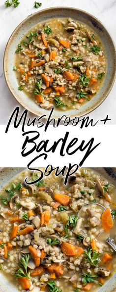 This mushroom barley soup is healthy, hearty, and deliciously comforting. It's easy to make, flavorful, and will warm you up! #mushroomsoup #veganrecipes #souprecipe #healthysoup #barleysoup