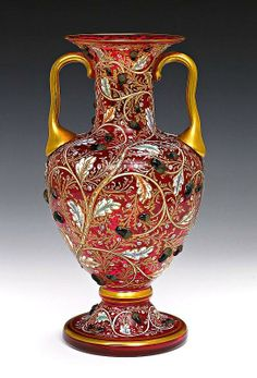 A Moser enamelled ruby glass vase, 19th century,