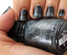 """ToTalLy in LUV with the New Spring Trend in nails-""""Sparkles"""" :) B.W I have made my very own 1 of a Kind Glitter Nail polishes that you CANNOT buy in stores. Sliver Nails, Black Nails With Glitter, Glittery Nails, Glitter Nail Polish, Silver Glitter, Nail Polish Brands, Nail Polish Designs, Nail Designs, Nail Polishes"""