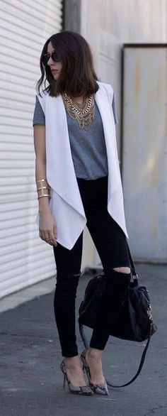 White Vest, White Vest Outfit, How to Style a White Vest, What to Wear With a White Vest Sleeveless Blazer Outfit, White Vest Outfit, Blazer Outfits, Blazer Vest, Mode Outfits, Fall Outfits, Casual Outfits, Fashion Outfits, Mode Chic