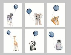 The balloons on this set of animal prints for a nursery are a nice idea - sets them apart from other animal prints. Nursery print set, set of six, Navy nursery, boys wall art, baby boy nursery, watercolor nursery, baby animal art