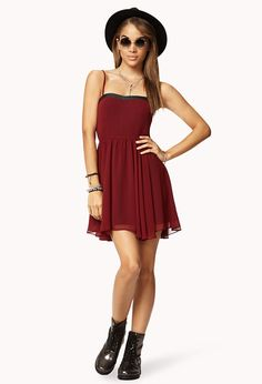 Fit & Flare Faux Leather Dress | FOREVER21 Turn heads this weekend in this #Burgundy #FitAndFlare #Dress