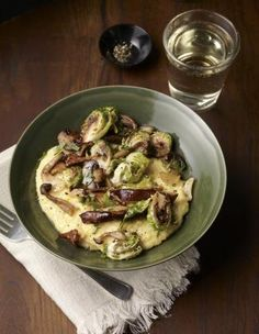 polenta with mushrooms and brussels sprouts, vegetarian, mark bittman (via Marion)