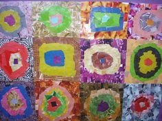 KANDINSKI (2 sessions) Fem els cercles concèntrics copiant l'obra original. Després retallem revistes per fer el collage i obtenir els diferents colors.