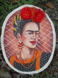 frida kahlo pintura en tela
