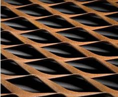 Corten ™ steel mesh is available in slotted, hexagon, and diamond patterns all with the characteristic rough brown corten finish. Great for my new gates, privacy and critter control! Metal Shop Building, Steel Building Homes, Expanded Metal Mesh, Metal Company, Steel Barns, Metal Workshop, Metal Garages, Corten Steel, Steel Fence