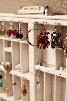 wooden printer's tray - jewelry organizer