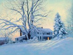 Nancy Peach, Winter's Blanket, oil, 9 x 12.