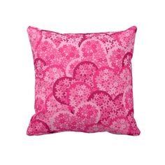 Cute floral hearts in pink throw pillows