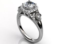 Platinum diamond unusual floral engagement ring, bridal ring, wedding ring, anniversary ring by Jewelice