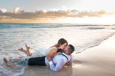 Kissing on the tideline as the waves break and then roll out — it doesn't get much sexier than this.