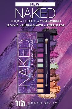 A vivid new addition to our eyeshadow palette lineup, Naked Ultraviolet 's peachy neutrals, lavenders and violets create endless looks with a purple pop.