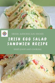 sandwiches filled with an egg and onion salad mixture from an Irish r. Triangular sandwiches filled with an egg and onion salad mixture from an Irish r. Triangular sandwiches filled with an egg and onion salad mixture from an Irish r. Scottish Recipes, Irish Recipes, Egg Recipes, Appetizer Recipes, Cooking Recipes, Irish Desserts, Appetizers, Appetizer Ideas, Salad Recipes