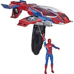 Imagine swinging into action with figures, vehicle, and accessories inspired by Marvel's Spider-Man: Far from Home. Join the web-slinging, wall-crawling action as Spidey uses his Spider-Jet vehicle to catch criminals like flies. Spiderman Movie, Man Movies, Disney Christmas, Kids Toys, Action Figures, Pilot, Jet, Marvel, Disney Characters