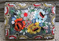 Micro Mosaic Brooch of flowers from Italy