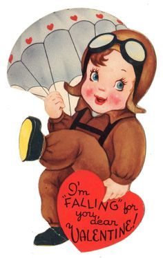 """WWII Paratrooper with Parachute """"Im Falling for You"""" Vintage Valentine Card My Funny Valentine, Vintage Valentine Cards, Valentines For Boys, Vintage Greeting Cards, Vintage Ephemera, Valentine Crafts, Valentine Day Cards, Valentine's Day Printables, Old Cards"""