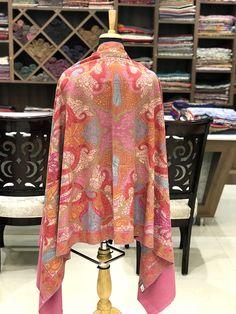 Kalamkari Pure Pashmina Shawl, Hand Painted   Hand Embroidered Kashmiri  Shawl, Pure Cashmere Scarf, Kalamkari Wrap, Kashmiri Hand Sozni Work d90d917f7c6