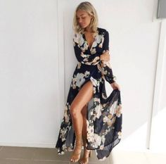 Women Boho Floral Chiffon Long Sleeve Split Dress