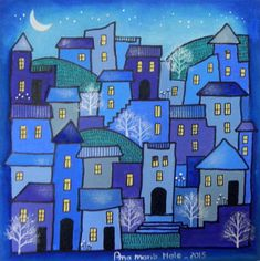 Ana Maria Nale. Pintura naif e infantil. Pequeño Formato. Cuadros originales y láminas. House Quilts, Landscape Quilts, House Drawing, Naive Art, Whimsical Art, Doodle Art, Textile Art, Art Lessons, Home Art
