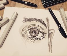 The Eye 👁 drawing with Copic markers and Pentel brush pens. Copic Marker Drawings, 3d Drawings, Copic Markers, Pencil Drawings, Realistic Eye Drawing, Drawing Tips, Drawing Sketches, Drawing Ideas, Drawing Board