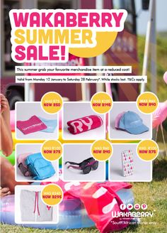 Wakaberry is having a Summer Sale! Head on down to any Wakaberry store in South Africa and get your favourite Wakaberry merch at a reduced cost!