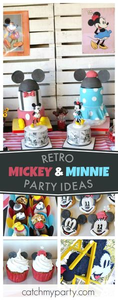 Don't miss this fun Retro Mickey & Minnie birthday party. The birthday cakes are awesome!! See more party ideas and share yours at CatchMyParty.com