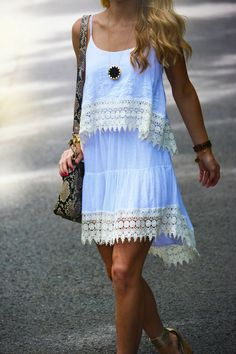 Sky Blue White Lace Short Summer Dress With Leather Snake Style Hand Bag