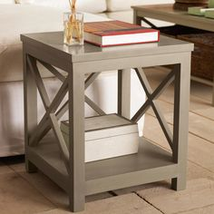 Saltire Wooden Side Table, Low - Lichen Grey