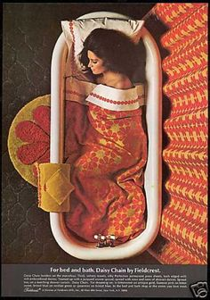 Vintage 1968 magazine ad page for Fieldcrest 'Daisy Chain' sheets, towels, linens for bed and bath.