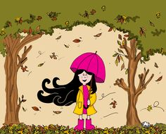 Lux hawaiana!   #lux #muñeca #pink #doll #otoó #autumn #hojassecas #arboles #trees #ilustration #ilustracion ver mas en FB: lux la muñeca