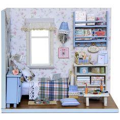 Diy Wooden Miniature Doll House Furniture Toy  Miniatura Puzzle Model Handmade  Dollhouse Creative Birthday Gift-Sunshine full
