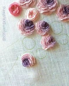 Hand Embroidery Patterns Flowers, Basic Embroidery Stitches, Hand Embroidery Videos, Embroidery Stitches Tutorial, Hand Work Embroidery, Embroidery Flowers Pattern, Creative Embroidery, Simple Embroidery, Silk Ribbon Embroidery