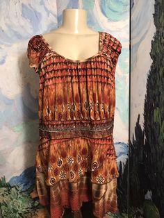 2125665ab5772 Venezia Plus Brown Artsy Scoop Neck Sequin Layered Sleeveless Tunic Top