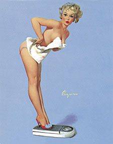 """The Right Scale"" (A Weighty Problem), 1960 by Gil Elvgren  #457"