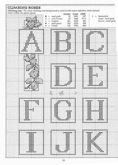 Boxes letters page 1 Crochet Alphabet, Crochet Letters, Cross Stitch Alphabet Patterns, Cross Stitch Letters, Cross Stitch Rose, Stitch Patterns, Needlepoint Belts, Needlepoint Stitches, Bobble Stitch Crochet