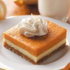 Pumpkin Dessert Bars: 1-3/4 cups graham cracker crumbs, 1-1/3 cups sugar, divided, 1/2 cup butter, melted, 1 package (8 ounces) cream cheese, softened, 5 eggs, 1 can (15 ounces) solid-pack pumpkin, 1/2 cup packed brown sugar, 1/2 cup milk, 1/2 tsp salt, 1/2 tsp ground cinnamon, 1 envelope unflavored gelatin, 1/4 cup cold water, whipped topping and ground nutmeg,