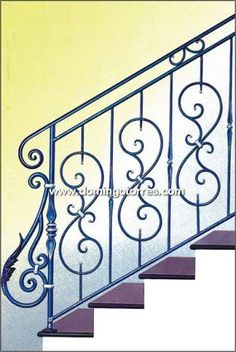 Resultado de imagen para dibujos de hiero forjado escaleras Outside Stair Railing, Metal Stair Railing, Modern Railing, Steel Handrail, Iron Staircase, Wrought Iron Stairs, Interior Staircase, Railings, Steel Railing Design