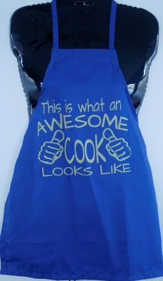 This is What An Awesome Cook Looks Like. Kid's blue apron with gold text by DOTProductions on Etsy