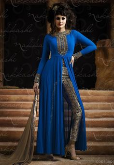 Blooming Blue Designer Indo Western Salwar Suit Blue Colour-3021