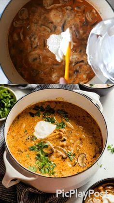 Best Mushroom Soup, Hungarian Mushroom Soup, Creamy Mushroom Soup, Mushroom Soup Recipes, Veg Recipes, Pasta Recipes, Recipies, Cooking Recipes, Good Food