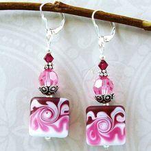 """Berry Swirls"" :  Etched Lamp Work Beads, Swarovski Crystal Sterling Silver Earrings"