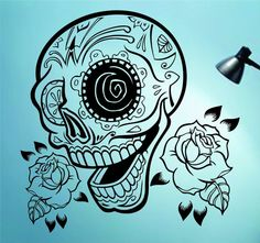 Hey, I found this really awesome Etsy listing at https://www.etsy.com/listing/186237925/sugarskull-version-22-with-roses-wall