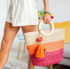 Cora Color Block Jute Tote