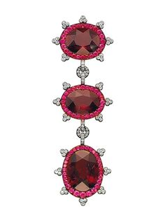 A Garnet, Ruby and Diamond Brooch, by JAR designed as three clusters, each centering upon an oval-shaped garnet, weighin approximately LILY SAFRA COLLECTION Diamond Brooch, Art Deco Diamond, Diamond Pendant, Diamond Stud, Diamond Rings, Jar Jewelry, High Jewelry, Geek Jewelry, Jewelry Stores