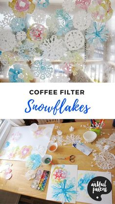 Learn how to make coffee filter snowflakes–the best and easiest way to make snowflakes! Add watercolor paint for a colorful indoor winter wonderland. via Artful Parent Winter Activities For Kids, Winter Crafts For Kids, Winter Fun, Diy Crafts For Kids, Art For Kids, Preschool Winter, Winter Ideas, Winter Snow, Kindergarten Christmas Crafts
