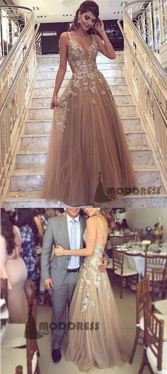 Applique Long Prom Dresses Spaghetti Straps Evening Dresses Tulle Backless Formal Dresses,HS707 #fashion#promdress#eveningdress#promgowns#cocktaildress