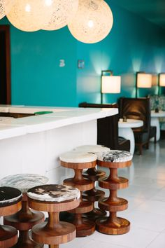 Love these mod wooden bar stools
