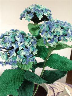 Hydrangea, crochet, horgolt hortenzia