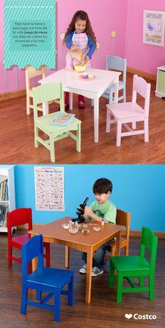 Mesas con llamativos colores para alegrar el cuarto de los niños.